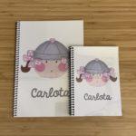 Cuaderno de la Marinera Gris y Rosa con tu nombre