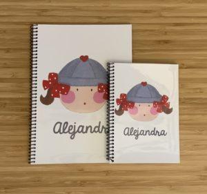 Cuaderno de la Marinera Gris y Rojo con tu nombre